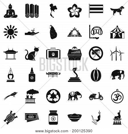 Circus elephant icons set. Simple style of 36 circus elephant vector icons for web isolated on white background