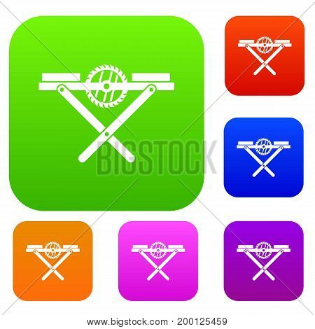 Power saw bench set icon in different colors isolated vector illustration. Premium collection