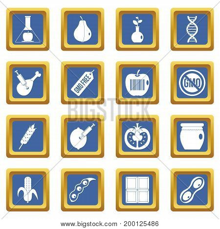 GMO icons set in blue color isolated vector illustration for web and any design