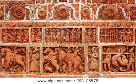 Design in wall of popular Kantajew Temple of 18 Century in Bangladesh