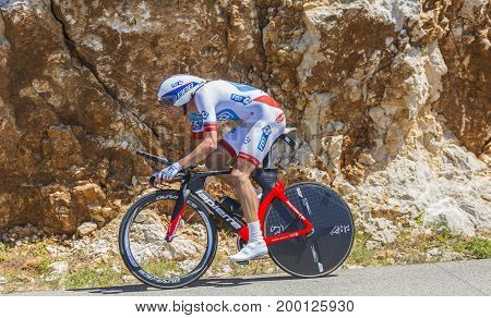 Col du Serre de TourreFrance - July 152016: The French cyclist Anthony Roux of FDJ Team riding during an individual time trial stage in Ardeche Gorges on Col du Serre de Tourre during Tour de France 2016.