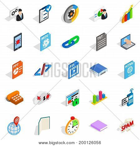 Examination icons set. Isometric set of 25 examination vector icons for web isolated on white background