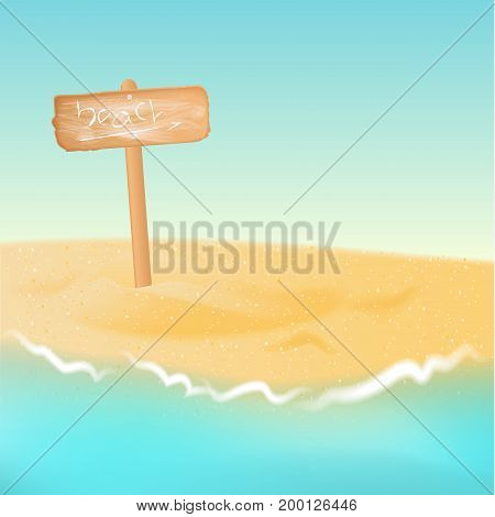 wood signboard on beach with blue sea