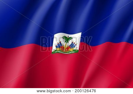 Flag Haiti realistic icon. State insignia of the nation in realistic style on the entire page. Waving state flag. National symbol in the form of a vector illustration