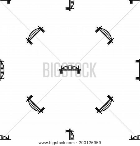 Bridge pattern repeat seamless in black color for any design. Vector geometric illustration