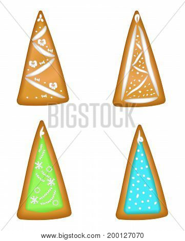 Set of christmas trees in glaze. Homemade pastries with spices. Isolated on white background without shadow.
