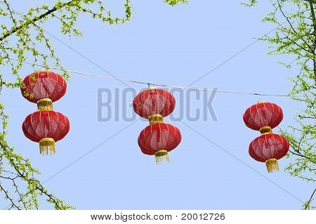 red lantern hang under blue sky