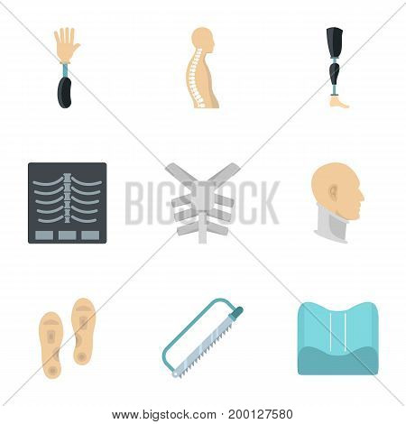 Orthopedic disease icon set. Flat style set of 9 orthopedic disease vector icons for web isolated on white background