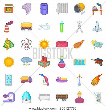 Solar energy icons set. Cartoon style of 36 solar energy vector icons for web isolated on white background
