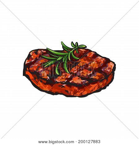 Grilled beef steak, beefsteak with rosemary, sketch style vector illustration on white background. Realistic hand drawing of grilled piece, cut of meet, beef steak served with rosemary