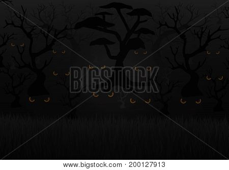 Scary eyes in a dark forest, vector art illustration of Halloween.