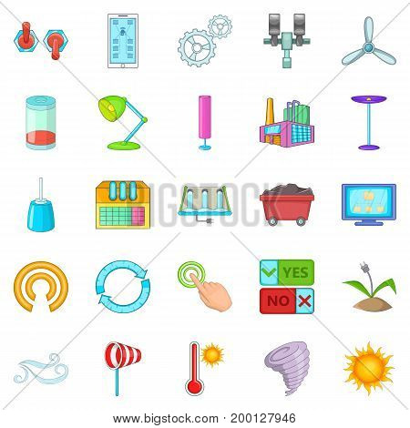 Earth energy icons set. Cartoon set of 25 earth energy vector icons for web isolated on white background