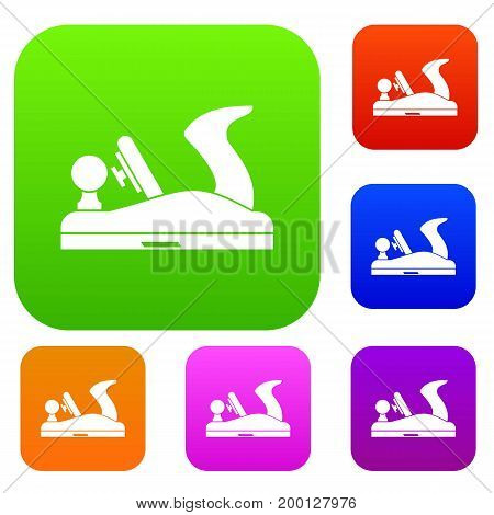 Jack plane set icon in different colors isolated vector illustration. Premium collection