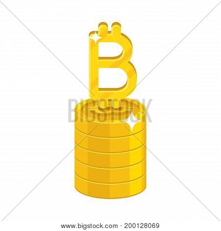 Column gold bitcoins isolated cartoon icon. Heap of gold bitcoins and bitcoin signs for designers and illustrators. Gold stacks of pieces in the form of a vector illustration