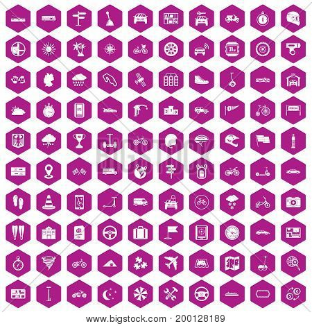 100 ride icons set in violet hexagon isolated vector illustration