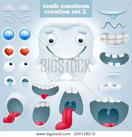 Creation set of cartoon tooth emoticon character. Vector illustration
