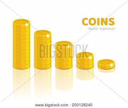 Gold coin piles cartoon style isolated. Heaps of gold coins of various heights for designers and illustrators. Stacks of gold pieces in the form of a vector illustration