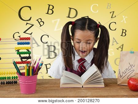 Digital composite of Many letters around Schoolgirl at desk in front of yellow background with abacus and book