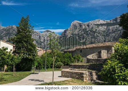 beautiful landscape Soller town on the island of Majorca. Mountains and typical houses. Mallorca island, Balearic Islands, Spain.