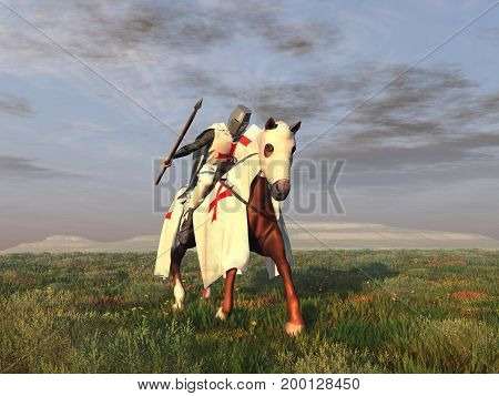3d illustration of a knight Templar on his horse