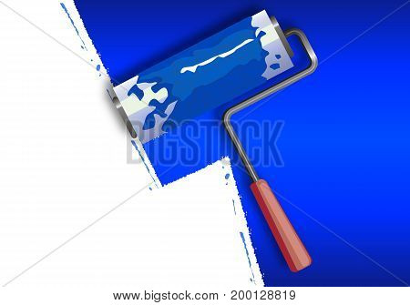 Paint the walls blue with a roller, vector art illustration.
