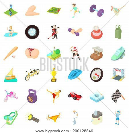 Activity sport icons set. Cartoon style of 36 activity sport vector icons for web isolated on white background