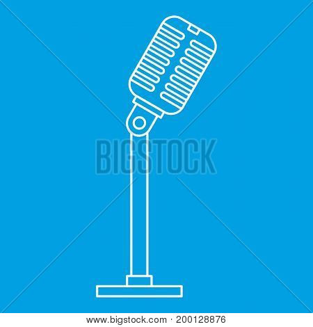 Microphone icon blue outline style isolated vector illustration. Thin line sign