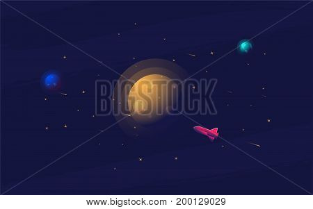 Vector flat space design background. Cute template with Spaceship, Rocket, Stars in Outer space. Futuristic vector illustration in realistic trendy style