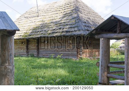 Old Houses With Thatched Roofs.