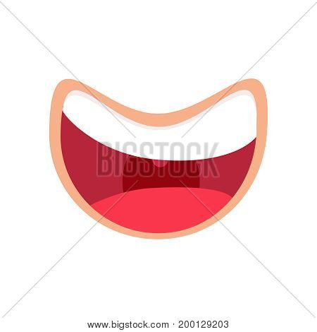 comic mouth smiling icon. Laughting Vector illustration. Happy throat emoji