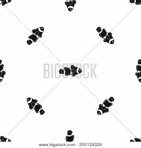 Fish clown pattern repeat seamless in black color for any design. Vector geometric illustration