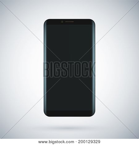 Black concept of modern phone with empty screen, realistic black mobile template on transparent background. High quality vector illustration. Futuristic smartphone. Minimalistic device concept