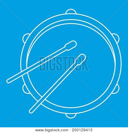 Drum icon blue outline style isolated vector illustration. Thin line sign