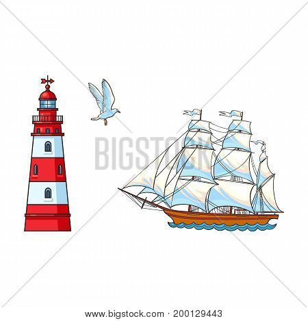 Beautiful sailing ship, lighthouse and seagull, hand drawn, sketch style cartoon vector illustration isolated on white background. Cartoon set of sailing ship, sailboat, lighthouse and flying seagull