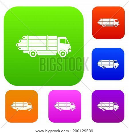 Log truck with the pile of logs set icon in different colors isolated vector illustration. Premium collection
