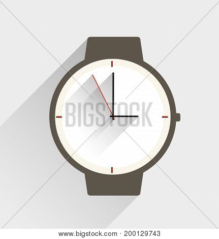 Cardboard clock, vector art illustration of the concept of time.