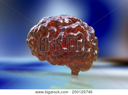Human brain on colorful background, 3D illustration