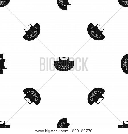Cowboy hat pattern repeat seamless in black color for any design. Vector geometric illustration