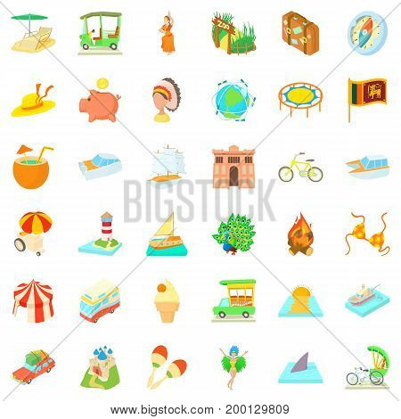 Summer adventure icons set. Cartoon style of 36 summer adventure vector icons for web isolated on white background