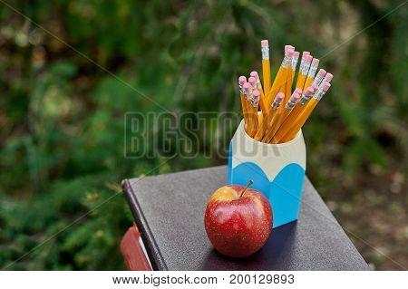 school equipment pencils book standing outdoor. copy space