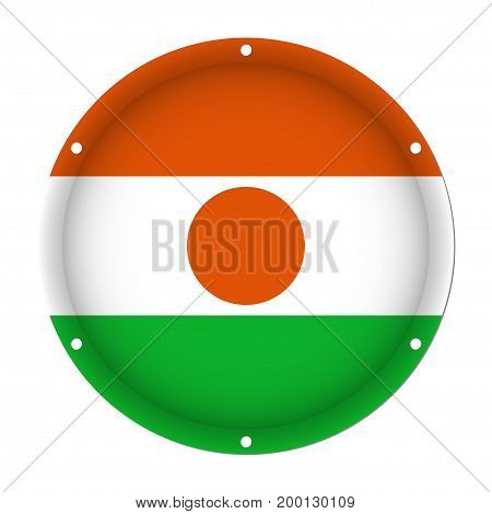 round metallic flag of Niger with six screw holes in front of a white background