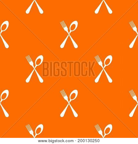 Spoon and fork pattern repeat seamless in orange color for any design. Vector geometric illustration