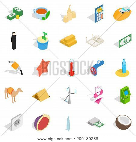 UAE icons set. Isometric set of 25 uae vector icons for web isolated on white background