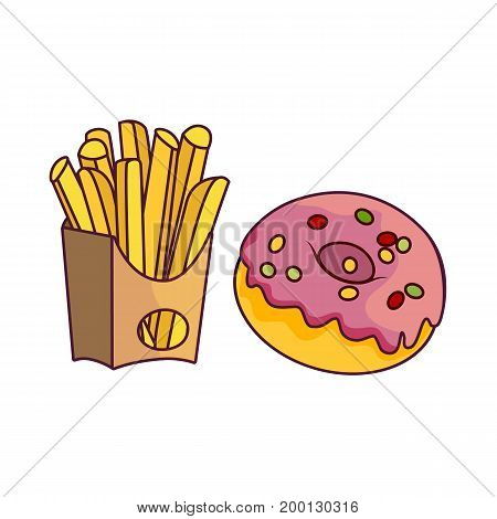 Vector donut with pink glaze icing and sprinkles, potato fry set. Flat cartoon isolated illustration on a white background. Sweet delicious dessert food, snack. French fries in paper box, fast food