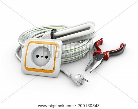 3D Illustration Of Electrical Cable, Socket And Pliers. Electric Components And Instruments.
