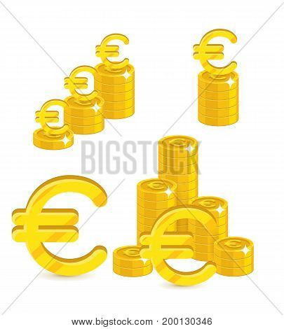 Piles gold euro isolated cartoon set. A lot of stacks and slides of gold euro and euro signs for designers and illustrators. Gold bunches of pieces in the form of a vector illustration