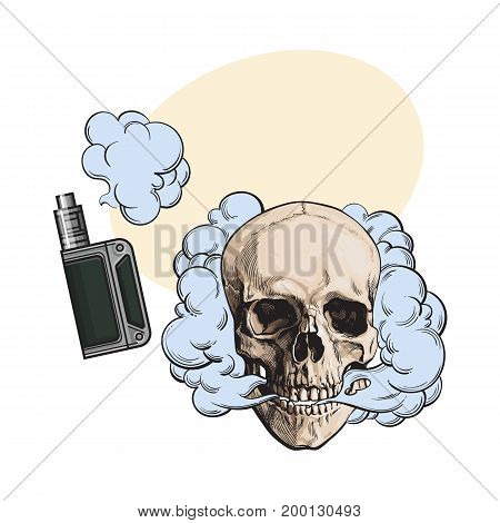 Smoke coming out of fleshless skull and vape, vaping device, sketch style vector illustration with space for text. Hand drawn smoking skull and smoke coming out of vaping device