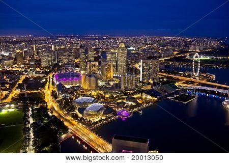 Singapore Skyline In Evening
