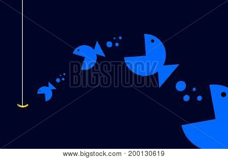 Food chain among fish, vector art illustration.