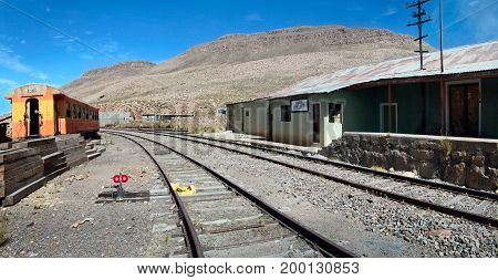 The abandoned railway station in Sumbay near Arequipa, southern Peru